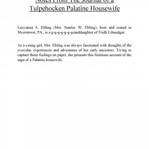 Notes From The Journal of a Tulpehocken Palatine Housewife